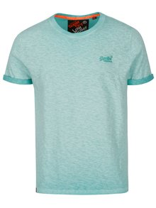 Světle modré pánské žíhané tričko s krátkým rukávem Superdry