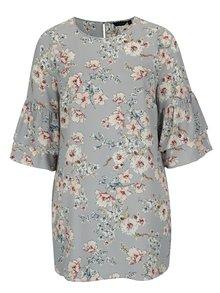 Svetlomodré kvetované šaty s volánmi Dorothy Perkins Curve