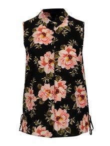 Čierna kvetovaná košeľa bez rukávov Dorothy Perkins Curve