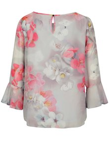 Bluza gri cu print floral si maneci clopot - Billie & Blossom