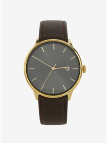 Unisex hodinky v zlatej farbe s hnedým remienkom z vegánskej kože CHPO Khorshid Gold