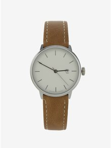 Dámske hodinky v striebornej farbe s hnedým remienkom z vegánskej kože CHPO Khorshid Mini Silver