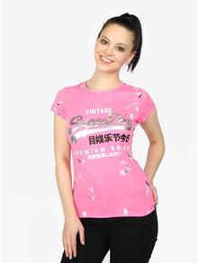 Tricou roz cu print metalic Superdry