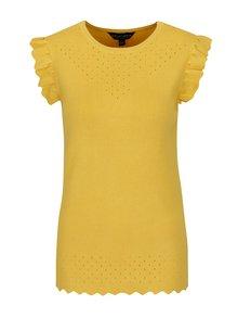 Žltý svetrový top s volánmi Dorothy Perkins