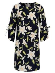 Tmavě modré květované šaty s 3/4 rukávem Dorothy Perkins