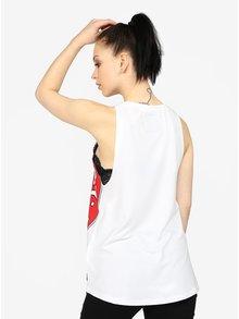 Top alb cu print si decolteu rotund pentru femei - Superdry
