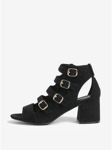 Sandale negre cu toc si catarame Miss Selfridge