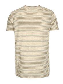 Béžovo-krémové pruhované tričko Selected Homme Malthe