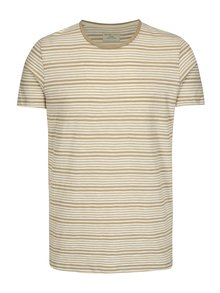 Tricou cu dungi bej & crem din bumbac - Selected Homme Malthe