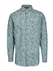 Bielo-zelená vzorovaná slim fit košeľa Selected Homme One Sel