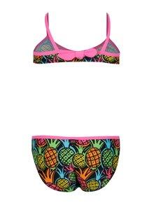 Ružovo-čierne dvojdielne dievčenské plavky s potlačou BÓBOLI