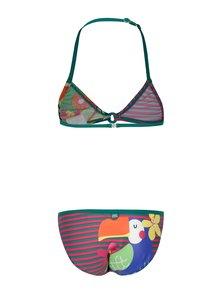 Ružovo-zelené dvojdielne dievčenské plavky s potlačou BÓBOLI