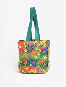 Ružovo-zelená plážová dievčenská pruhovaná taška s potlačou BÓBOLI