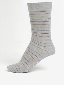 Sosete gri unisex cu model - Happy Socks Thin Stripe