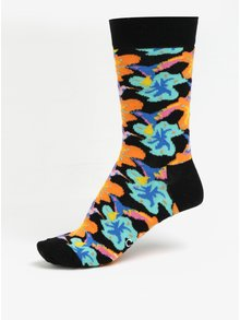 Sosete negre unisex cu model floral - Happy Socks Hummingbird