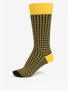 Sosete bleumarin & galben unisex - Happy Socks Dressed Basket Weave