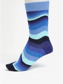 Modré pruhované unisex ponožky Happy Socks WavyStripe