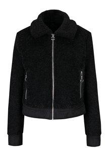 Jacheta neagra din blana artificiala cu buzunare - Miss Selfridge