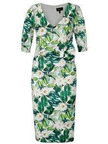 Zelené kvetované puzdrové šaty NISSA