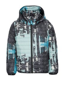 Modro-šedá klučičí prošívaná péřová bunda s odnímatelnými rukávy Reima Fleet