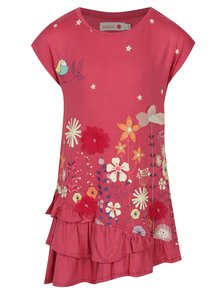 Ružové dievčenské šaty s potlačou a volánmi BÓBOLI