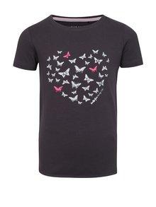 Tmavosivé dievčenské tričko s krátkym rukávom Blue Seven