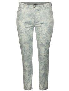 Pantaloni gri deschis cu print floral Ulla Popken