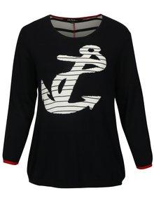 Tmavomodrý sveter s motívom kotvy Ulla Popken