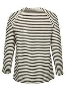 Krémové pruhované tričko s dlhým rukávom Ulla Popken