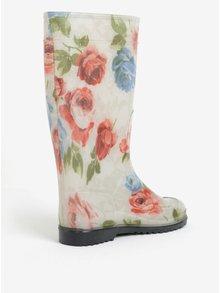 Krémové dámske kvetované gumáky Oldcom Rain