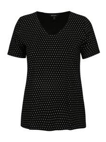 Čierne bodkované tričko Ulla Popken