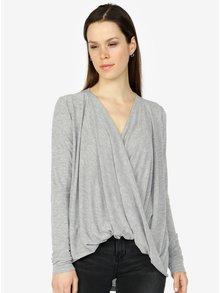 Světle šedé oversize tričko s překládaným předním dílem VERO MODA Luna