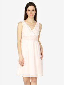 Světle růžové šaty s véčkovým výstřihem VERO MODA Mira