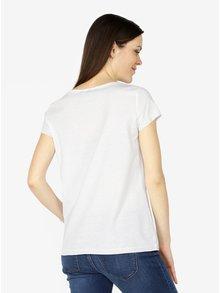 Bílé tričko s potiskem a palmou z flitrů VERO MODA Bling