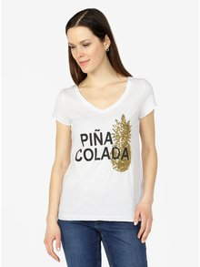 Biele tričko s potlačou a ananásom z flitrov VERO MODA Bling