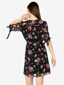 Rochie neagra cu print floral si maneci 3/4 - VERO MODA Lili mini