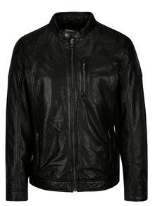 Jacheta biker neagra din piele naturala pentru barbati -  Casual Friday by Blend