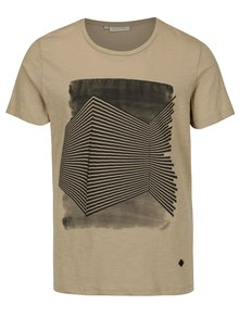 Tricou bej din bumbac cu print grafic - Casual Friday by Blend