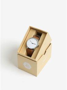 Unisex hodinky v striebornej farbe s hnedým koženým remienkom CHPO Harold