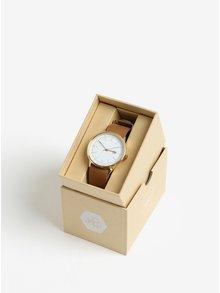 Unisex hodinky v zlatej farbe s hnedým koženým remienkom CHPO Harold Gold