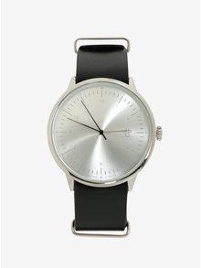 Unisex hodinky v striebornej farbe s čiernym koženým remienkom CHPO Harold Silver