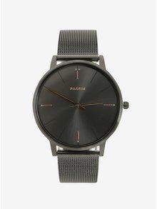 Šedé hodinky s kovovým páskem Pilgrim