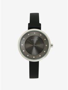 Postříbřené hodinky s černým silikonovým páskem Pilgrim