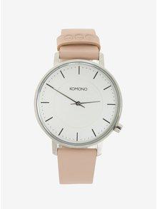 Dámske hodinky v striebornej farbe s ružovým koženým remienkom Komono Harlow