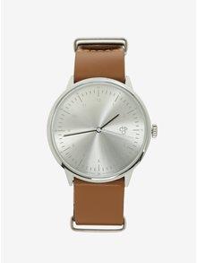 Unisex hodinky v striebornej farbe s hnedým koženým remienkom CHPO  Harold Silver