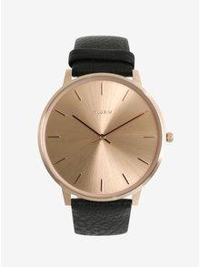 Pozlacené hodinky v růžovozlaté barvě s černým koženým páskem Pilgrim