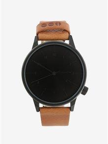 Černé unisex hodinky s hnědým koženým páskem Komono Winston Regal