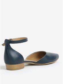 Tmavomodré kožené sandále Tamaris