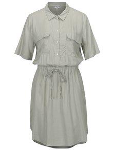 Krémovo-zelené pruhované košeľové šaty Jacqueline de Yong Beach
