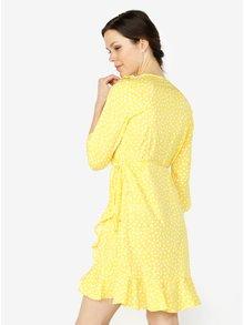 Žlté vzorované zavinovacie šaty s volánmi VERO MODA Henna